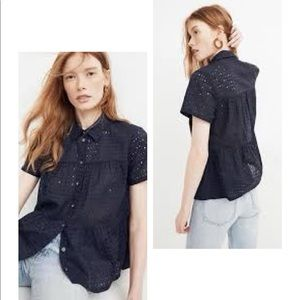 Madewell Eyelet Seamed Button Down Shirt Size S